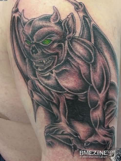 Marvel Grey Color Ink Terrifying Alien Tattoo On Arm For Boys