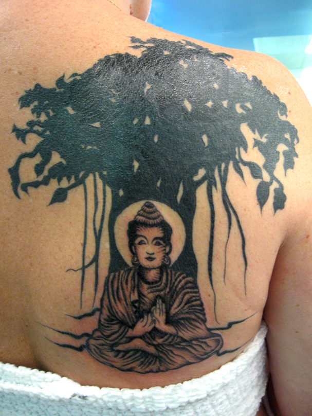 Marvelous Black And Green Color Ink Buddhist Tattoo With Tree On Shoulder Back For Boys