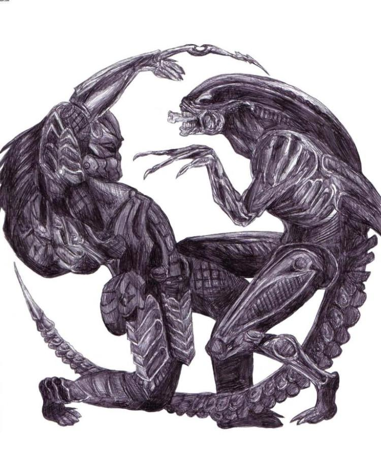 Marvelous Black Color Ink Alien vs. Predator Tattoo Design For Boys Tattoo