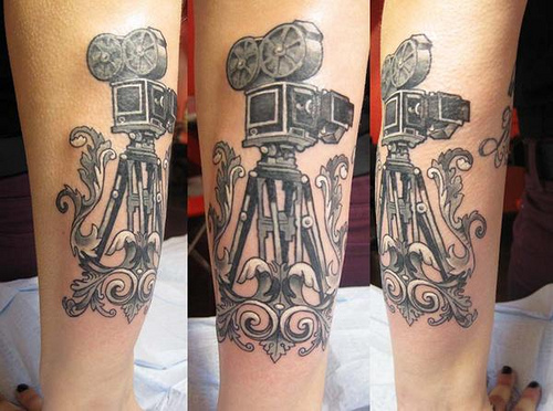Marvelous Black Color Ink Cinema Camera Tattoo Picture For Girls