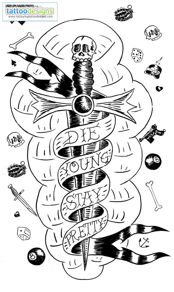 Marvelous Black Color Ink Die Young Stay Pretty Dagger Tattoo Design For Girls