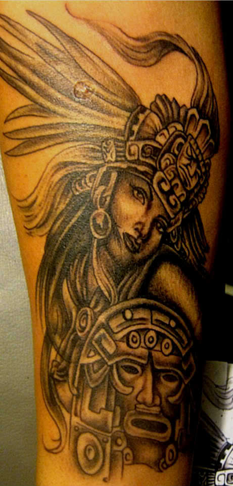 Marvelous Golden Color Ink Aztec Girl Tattoo On Arm Made By Expert