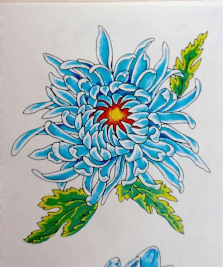 Marvelous Green Blue And Black Color Ink Chrysanthemum Tattoos Design For Boys