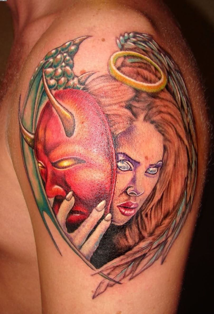 Marvelous Red And Green Color Ink Angel Girl With Evil Mask Tattoo On Shoulder For Boys