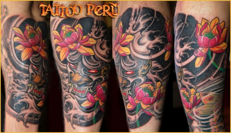 Marvelous Yellow Green Black And Red Color Ink Demons & Flowers Tattoo Designs For Boys