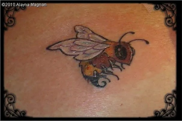 Mind Blowing Black And Yellow Color Ink Bee Tattoo On Back For Girls