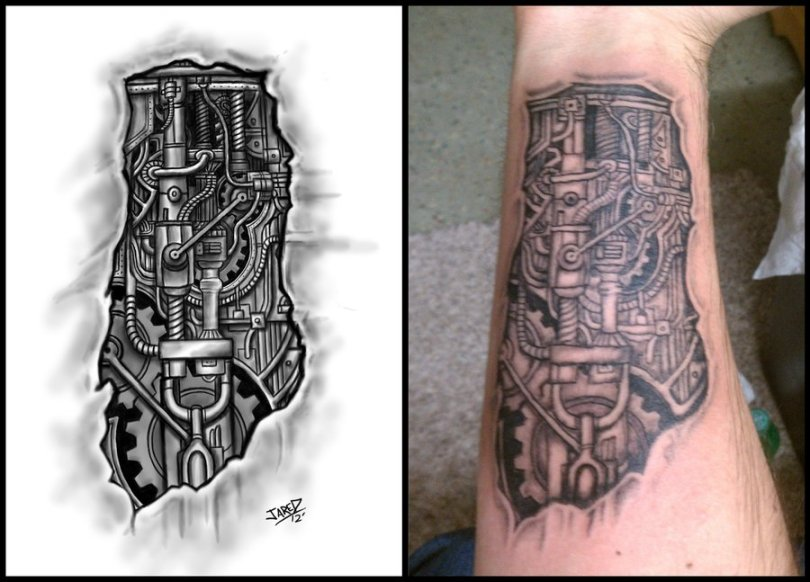 Mind Blowing Black Color Ink 3D Biomechanical Forearm Tattoo On Arm For Boys