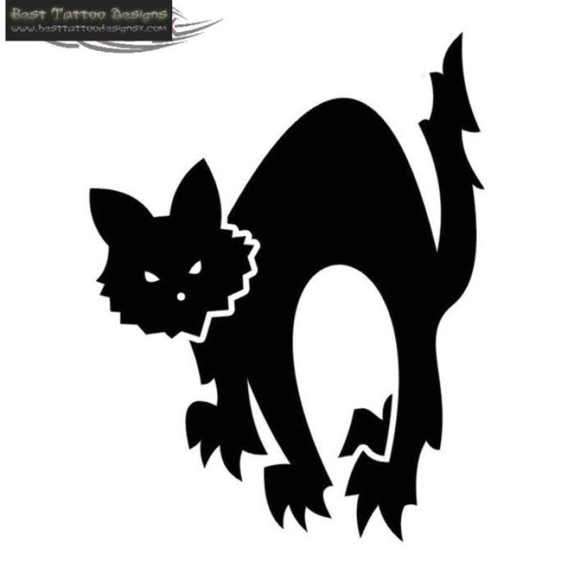 Mind Blowing Black Color Ink Black Cat Tattoo Design For Boys