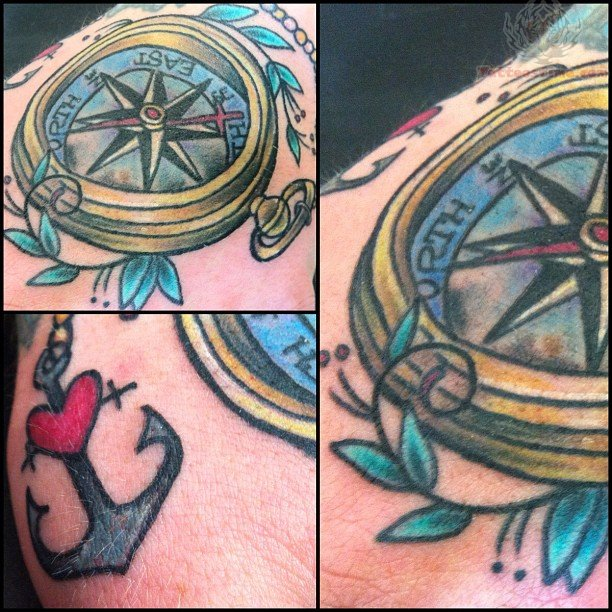 Mind Blowing Blue Yellow Black And Red Color Ink Heart Anchor & Compass Tattoo For Boys