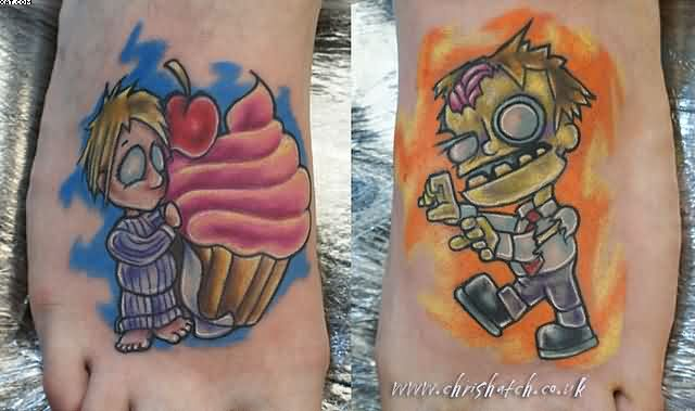Most Adorable Zombie Tattoo On Feet