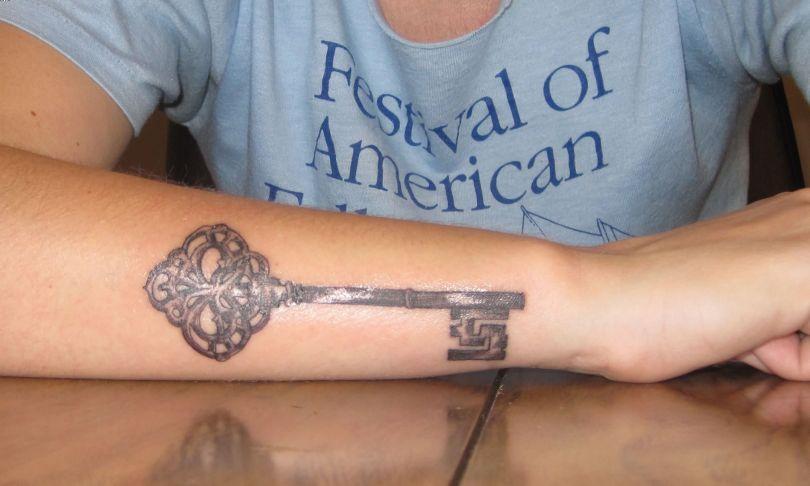 Most Amazing Big Key Tattoo Antique On Wrist