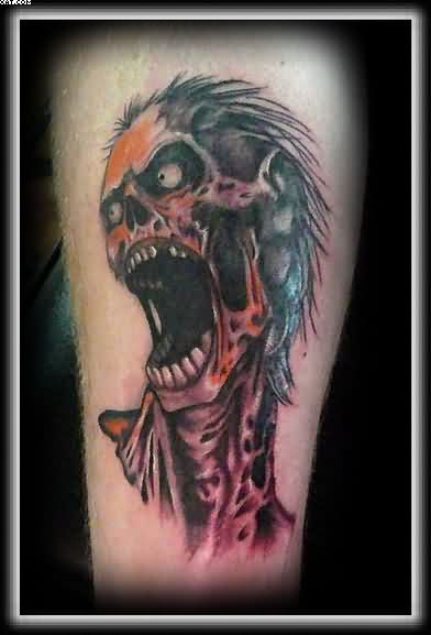 Most Amazing Screaming Zombie Skull Tattoo Picture Skull