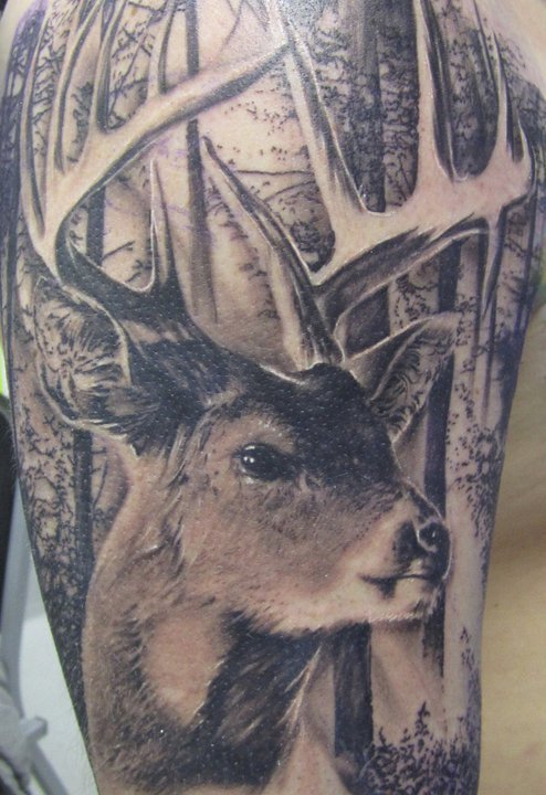 Most Beautiful Black Color Ink Forest Deer Tattoo Image For Boys