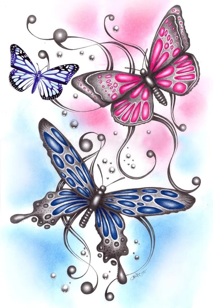 Most Beautiful Blue Black And Red Color Ink 3 Butterflies Tattoo Designs For Girls