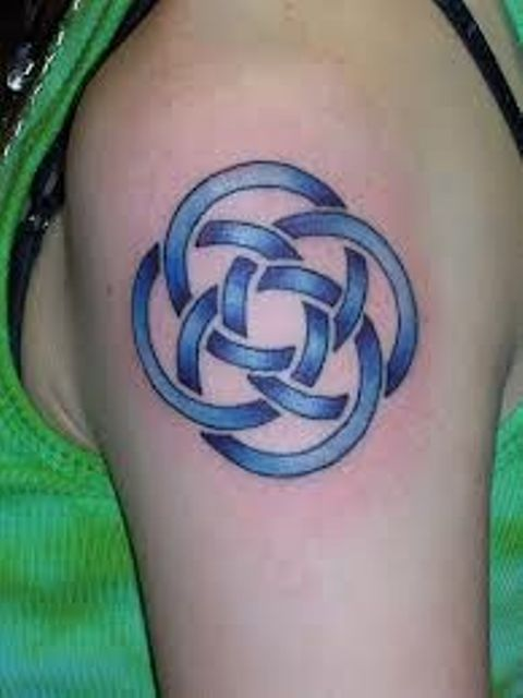 Most Beautiful Blue Color Ink Celtic Tattoo Design On Shoulder For Boys