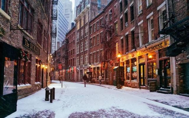 Most Beautiful Snow In New York City Full HD Wallpaper