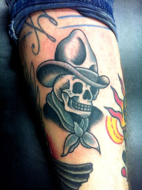 Most Beautiful Yellow Blue Black And Red Color Ink Cowboy Skull Tattoo Design For Girls
