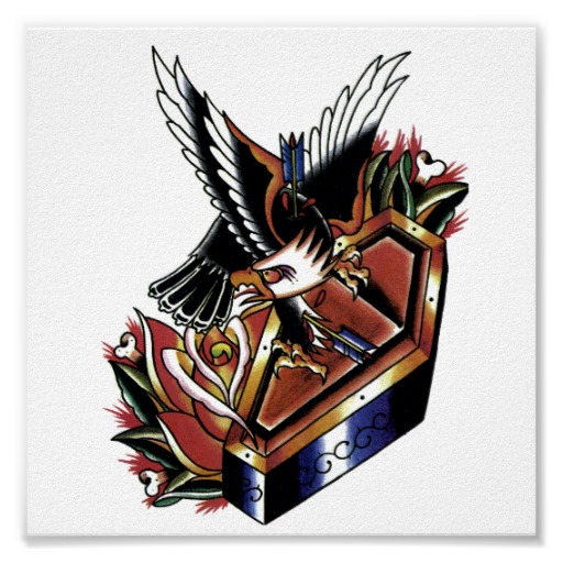 Most Beautiful Yellow Blue Black And Red Color Ink Eagle & Coffin Tattoo Poster For Boys