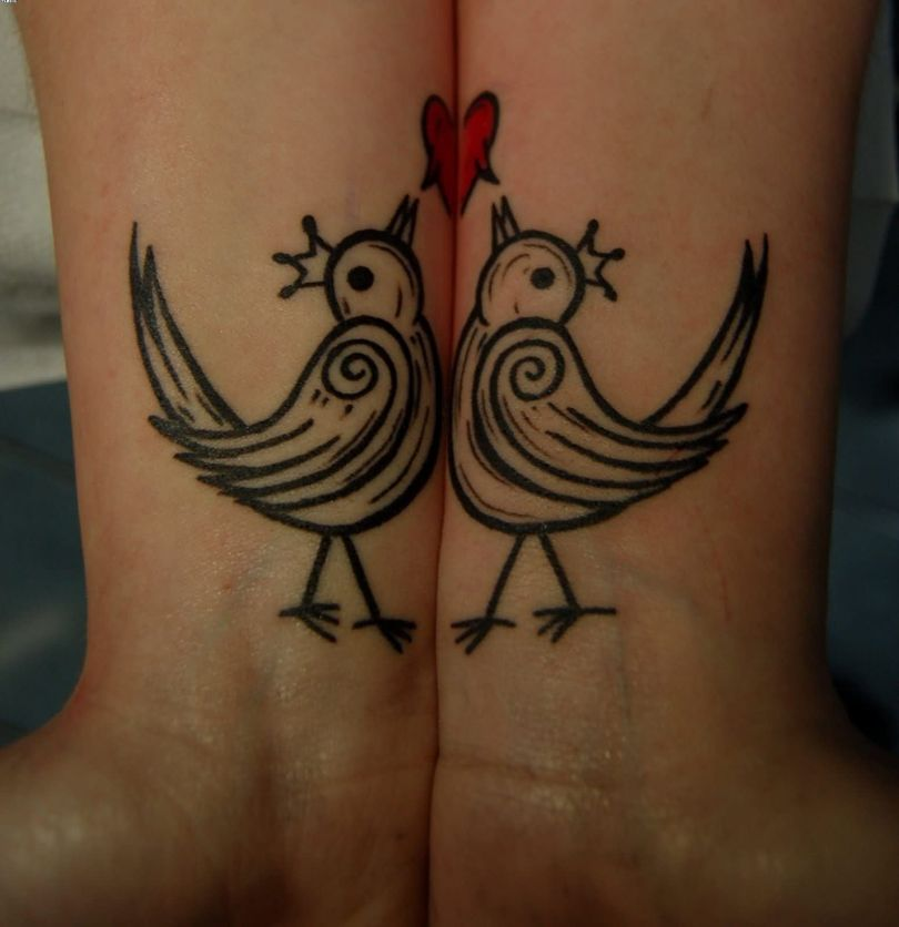Most Cutest Bourke Birds For Couple On Wrist Tattoo