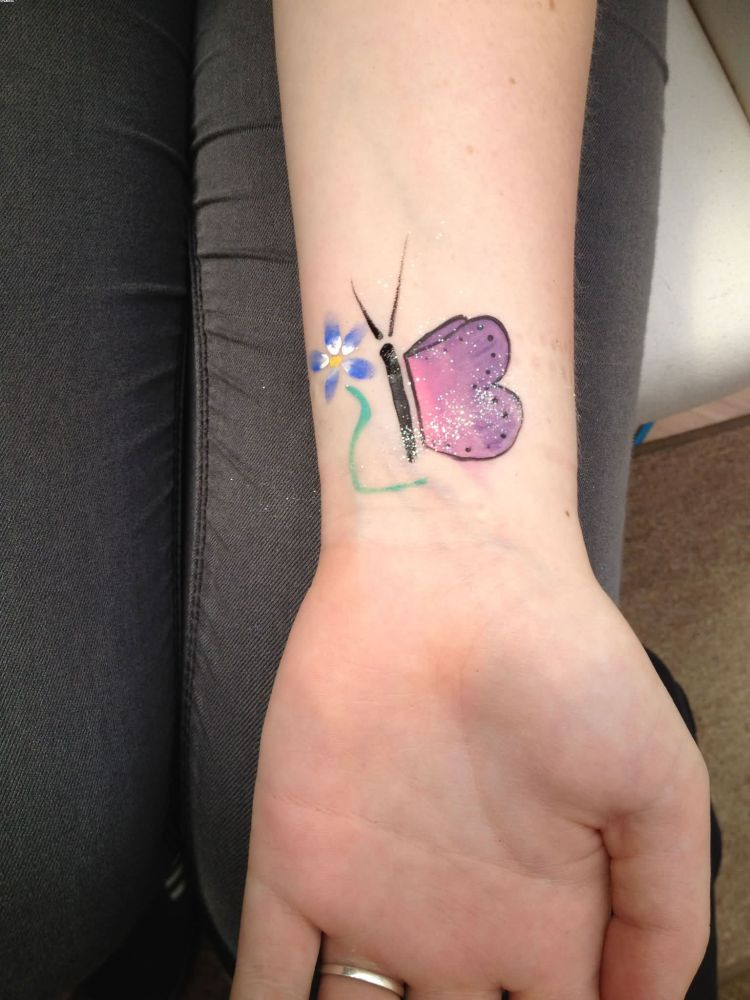 Most Cutest Wrist Tattoo Of Buterfly For Girls