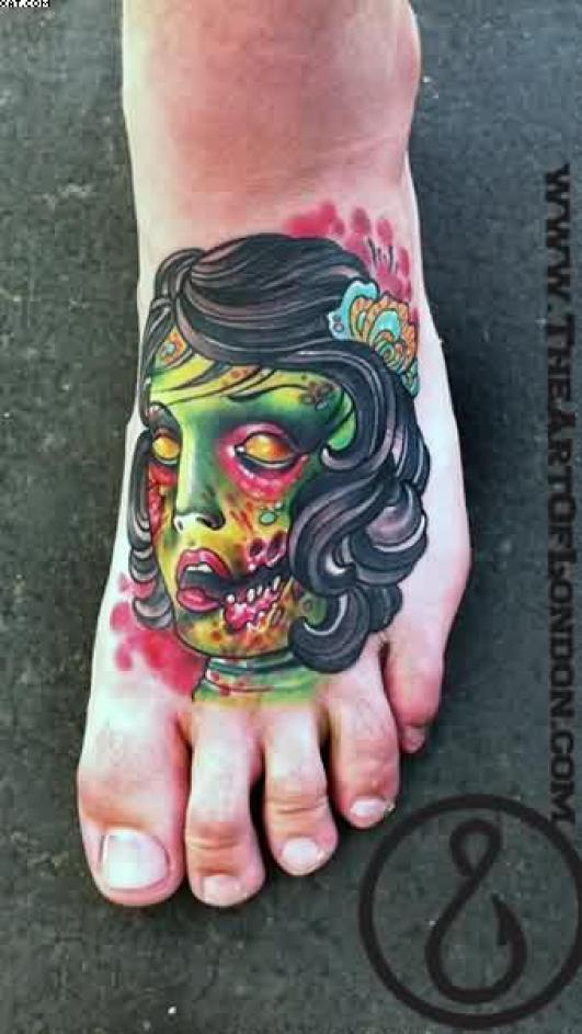 Most Great Victorian Flapper Zombie Girl Tattoo On Foot