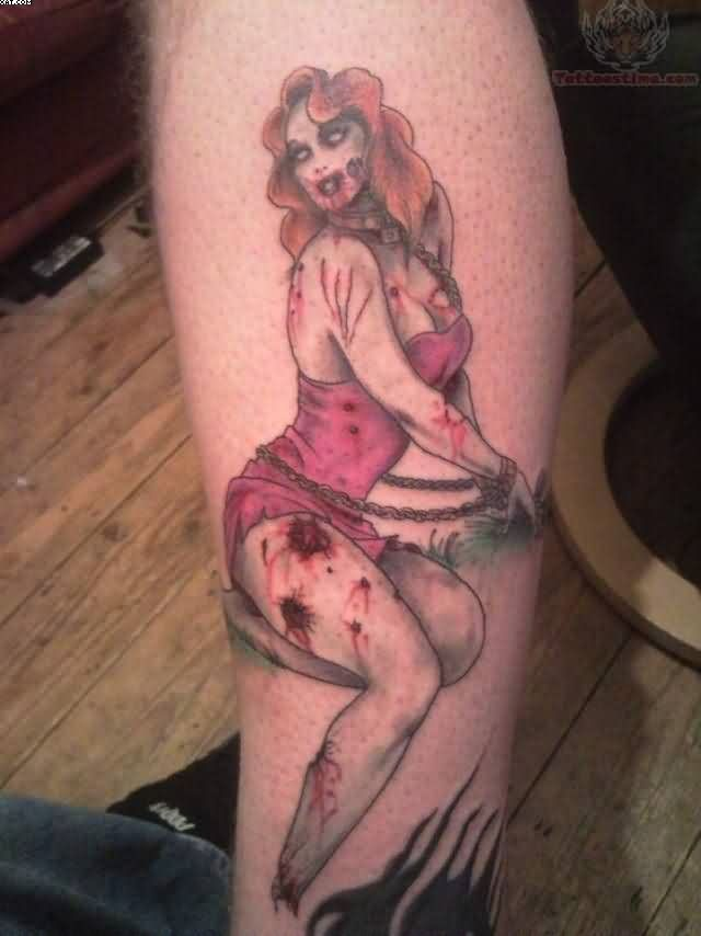 Most Sexy Zombie Girl Tattoo On Arm