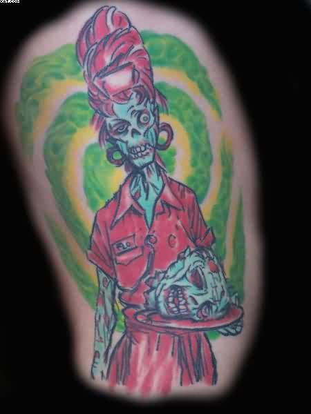 Most Ultimate Zombie Waitress Tattoo Image