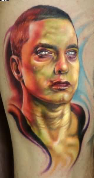 Most amazing Eminem Zombie Tattoo with colorful ink