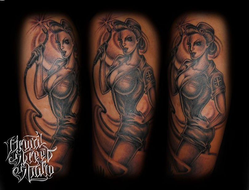 Motivational Black Color Ink Army Pin Up Girl Tattoo Designs For Girls