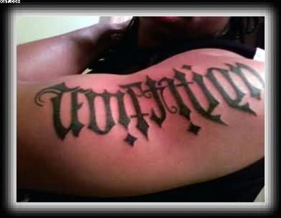 Motivational Grey Color Ink Ambigram Tattoo On Arm For Boys