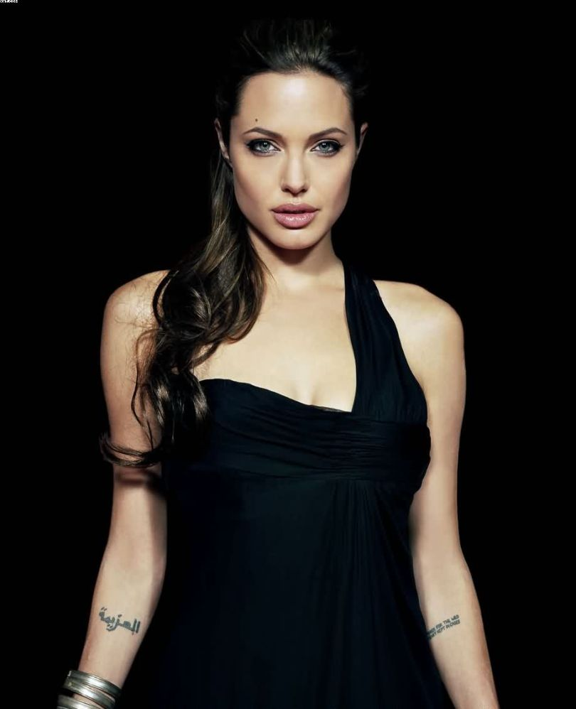 Motivational Grey Color Ink Angelina Jolie Arabic Tattoo On Arms For Girls