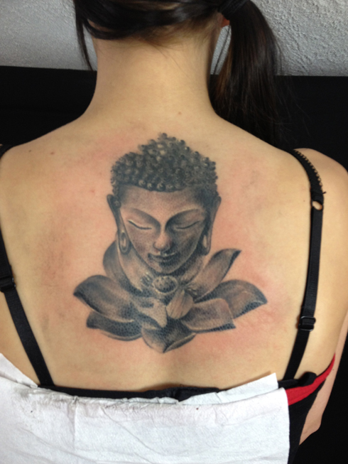 Motivational Grey Color Ink Buddha & Lotus Tattoo On Upper Back For Girls