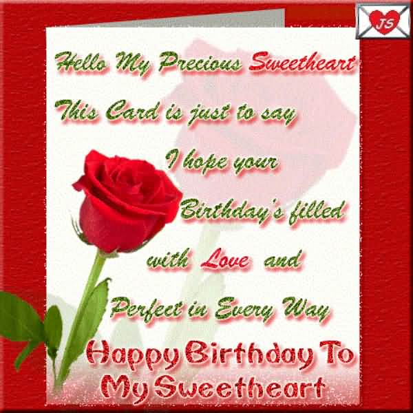 My Sweetheart I Hope Your Birthday's Filled With Love And Perfect