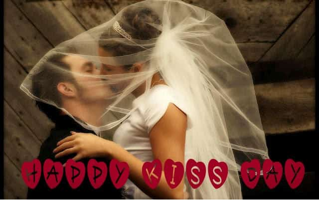 New Wedding Couple Celebrate Happy Kiss Day Picture