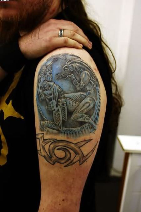 Nice Black And Blue Color Ink Alien Tattoo on Arm For Boys