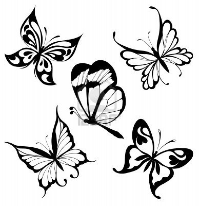 Nice Black And White Color Tribal Butterflies Tattoo Designs For Girls