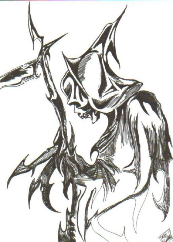 Nice Black Color Ink Grim Reaper Death Tattoo Sample For Girls