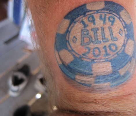 Nice Blue And White Color Ink Poker Chip Tattoo Design For Boys