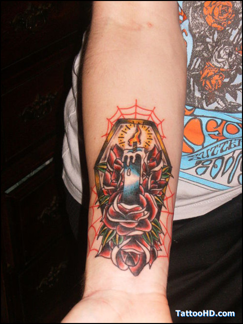Nice Blue Yellow Black And Red Color Ink Candle Coffin Tattoo On Forearm For Boys