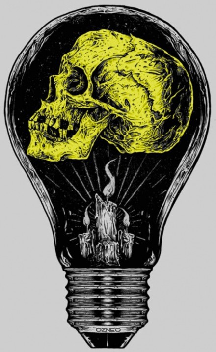 Nice Green And Black Color Inmk Skull Light Bulb Tattoo Design For Boys Tattoo Copy