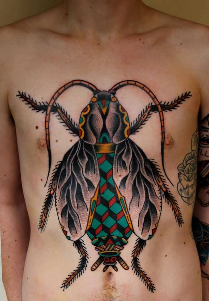 Nice Green Black And Red Color Ink Big Bug Tattoo For Chest For Boys