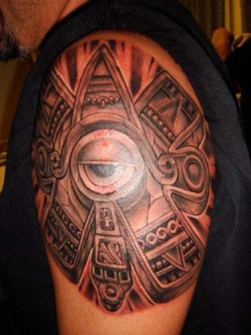 Nice Red Light And Black Color Ink Aztec Biceps Tattoo Design For Boys