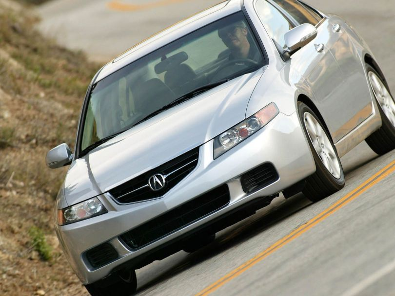 On the road of silver awesome Acura TSX car