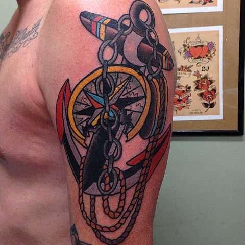 Out Standing Blue REd And Black Color Ink Big Anchor & Compass Tattoo Design For Boys