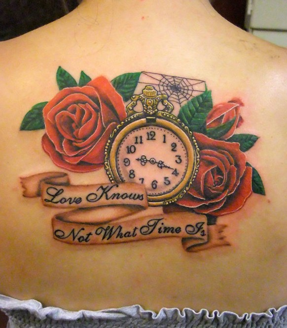 Out Standing Yellow Red And Black Color Ink Clock Spiderweb And Rose Tattoos On Upperback For Girls