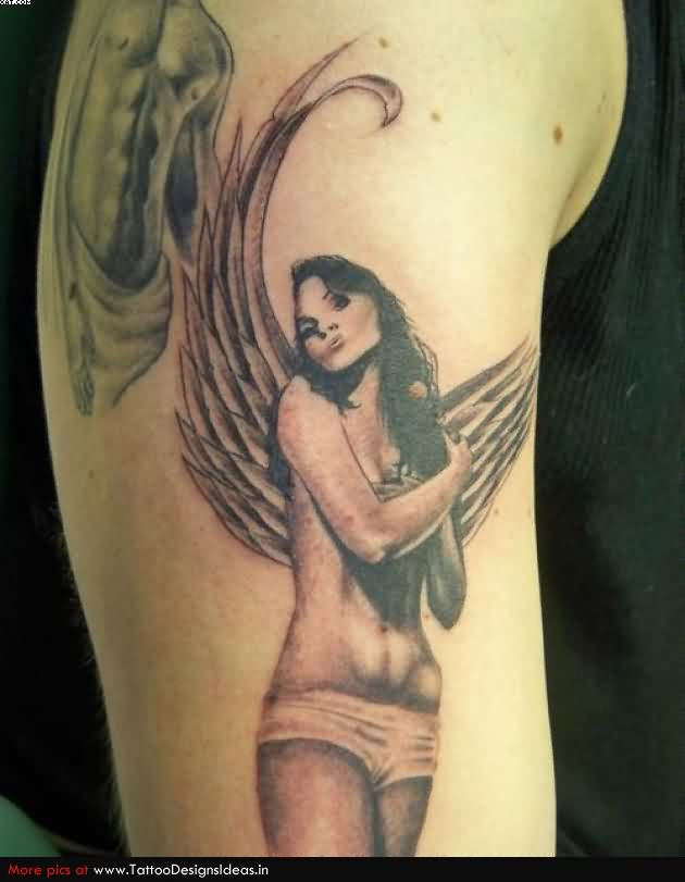 Passionate Black And Red Color Ink Angel Girl Tattoo Design On Arm For Boys
