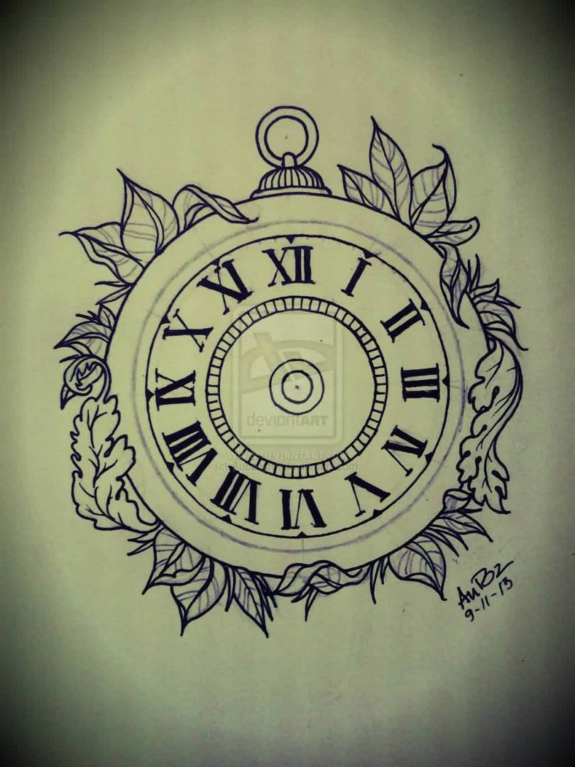 Passionate Black Color Ink Clock Tattoo Flash For Girls