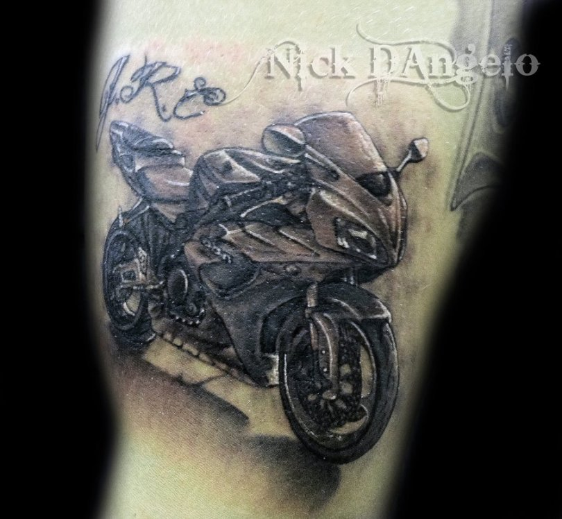 Passionate Black Color Ink Racing Bike Tattoo For Girls