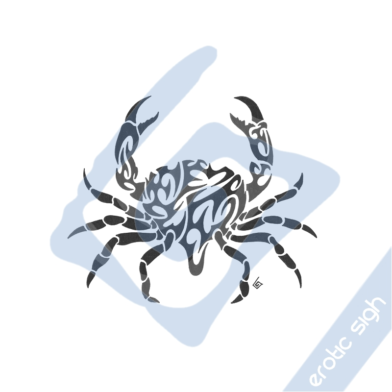 Passionate Black Color Ink Tribal Crab Tattoo Sample For Girls