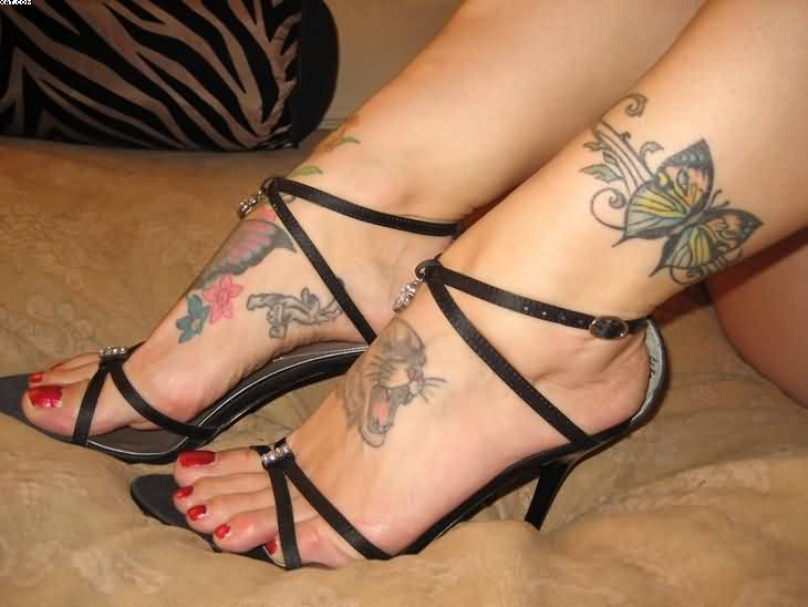 Passionate Red Black And Green Color Ink Butterfly Tattoo For Ankle On Foot For Girls